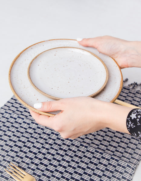 Natural Cloud Speckled Ceramic Plates