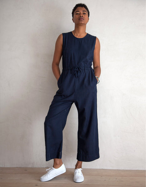 Navy Slit Back Cotton Jumpsuit