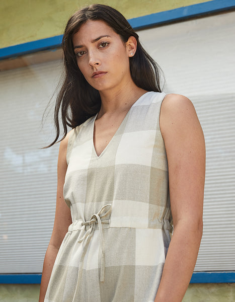 RAW SILK GINGHAM JUMPSUIT