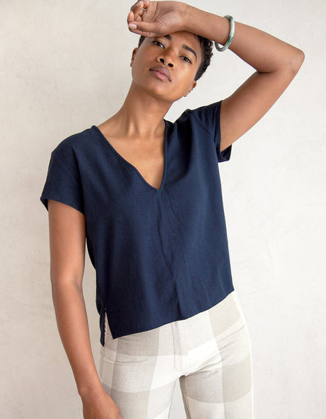 RAW SILK NAVY TOP
