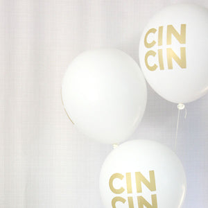 CLEARANCE - White and Gold CIN CIN Balloons