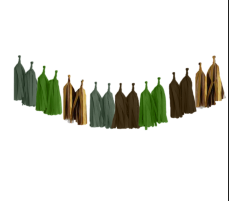Party Foul - Tissue Paper Tassel Garland Kit - Olive, Oasis, Brown, Metallic Gold