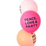 Party Foul - PEACE LOVE & PARTY balloons (Hot Pink)