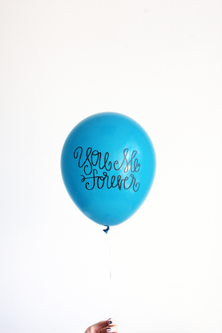 You Me Forever Hand Lettered Balloons