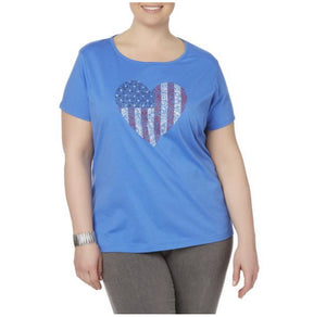 Laura Ashley Women's Plus Graphic T-Shirt- Red, White & Blue Heart