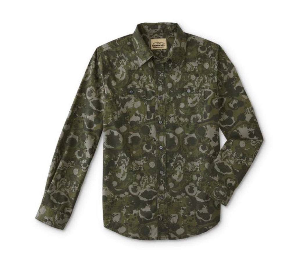 Roebuck & Co. Boys' Button-Front Shirt-Camouflage