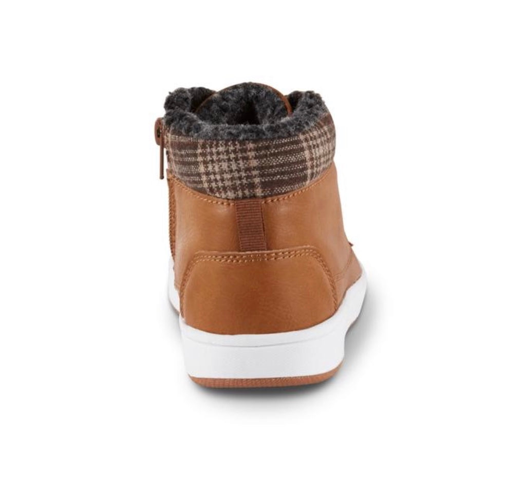 Roebuck & Co. Boys' Cannon Brown/Plaid High Top Sneaker
