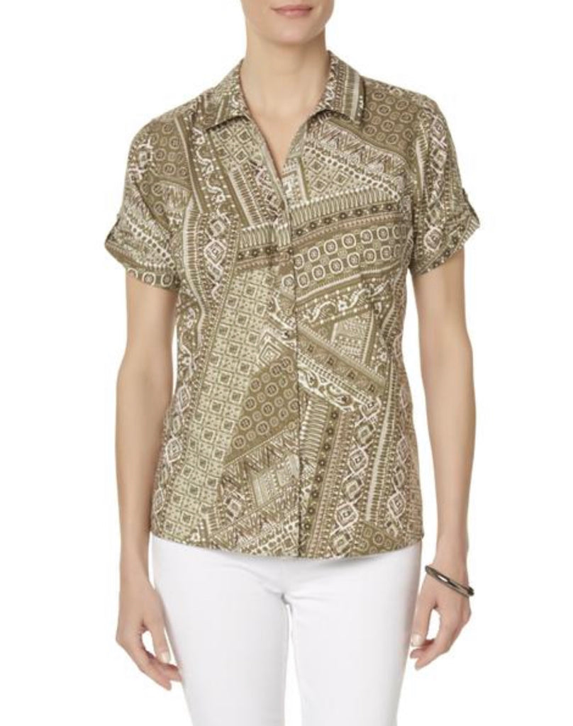 Erika Women's Camp Shirt - Geometric