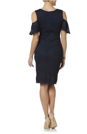 Simply Styled Women's Ribbed Cold Shoulder Sheath Dress