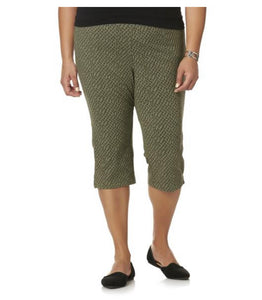 Laura Scott Women's Plus Knit Capri Pants - Leaf Print