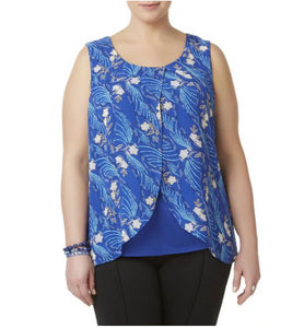 Simply Emma Women's Plus Sleeveless Blouse - Floral