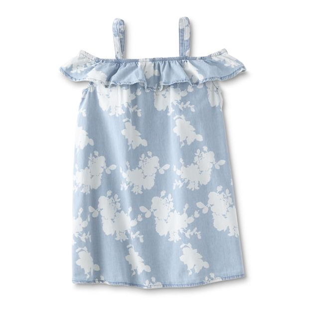 Roebuck & Co. Girls' Denim Babydoll Dress - Floral