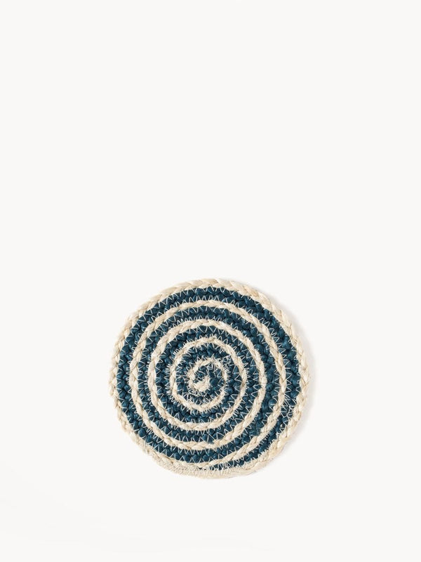 Kata Woven Coasters - Blue (Set of 4) - White Ivy Interiors