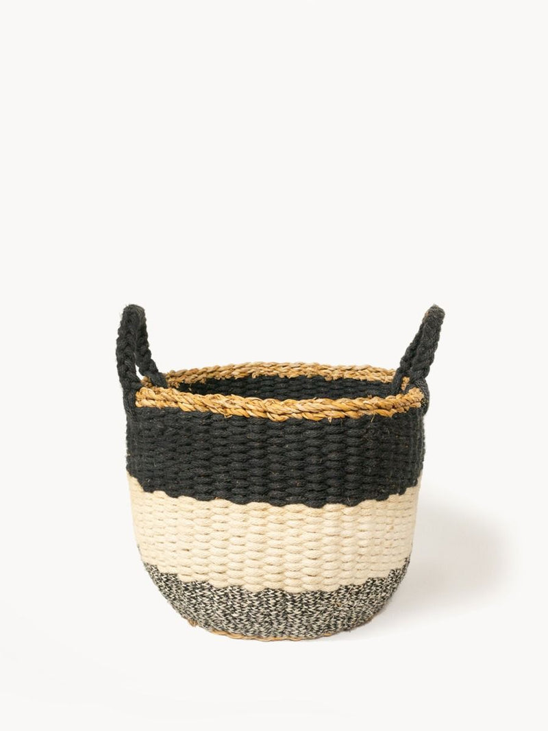 Ula Stripe Basket - Black - White Ivy Interiors