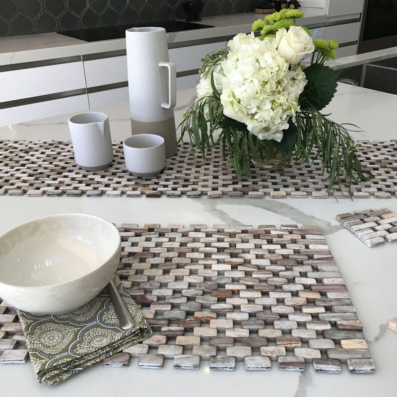 Rosewood Place Mats - with White Wash Finish - White Ivy Interiors