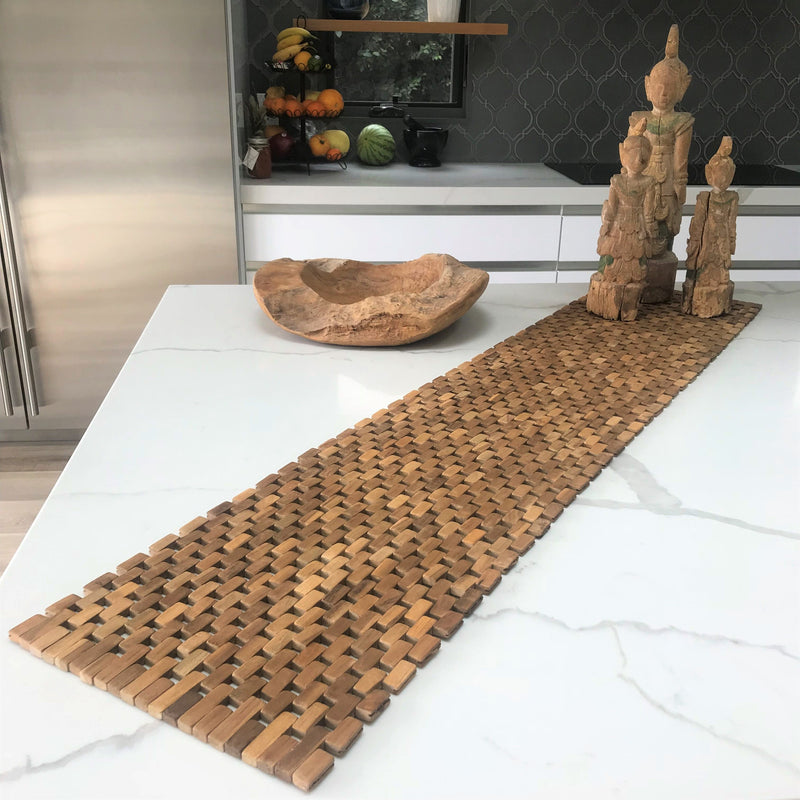Teak Table Runner - White Ivy Interiors