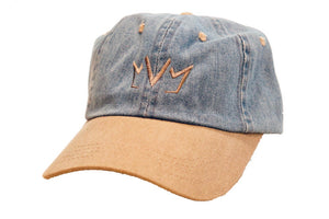 Frontside view of The Blue Jean Dad Hat showing the MVM Crown embroidered on the front.