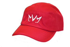 Frontside view of The Casual Runner Performance Cap in red.