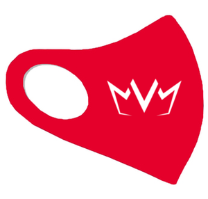 View of the red MVM FaceMask Lite with the MVM Crown logo.