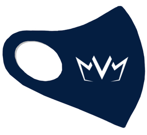 View of the navy blue MVM FaceMask Lite with the MVM Crown logo.
