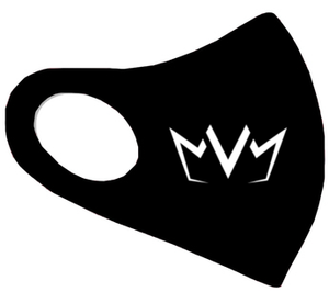 View of the black MVM FaceMask Lite with the MVM Crown logo.