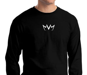 Frontside view of the MVM Long Sleeve Tee with the MVM Crown logo in the center of the chest.