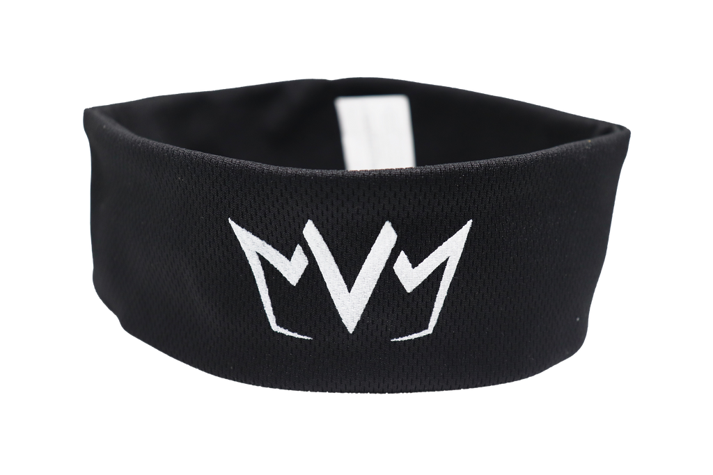 The front of the MVM Cooling Headband with the MVM Crown in the middle.