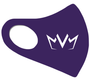 View of the purple MVM FaceMask Lite with the MVM Crown logo