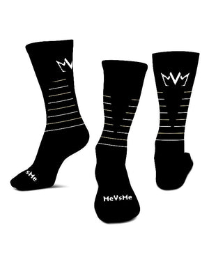 3 views of the MVM Performance Cushioned Crew Socks with the MVM Crown logo shown on the back, and MeVsMe shown on the toe.