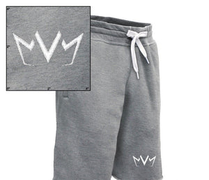 View of the MVM Sweatshort showing the MVM Crown logo embroidered on the left leg.