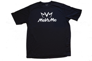 Frontside view of the black MVM Performance Tee with MeVsMe logos.