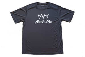 Frontside view of the iron grey MVM Performance Tee with MeVsMe logos.