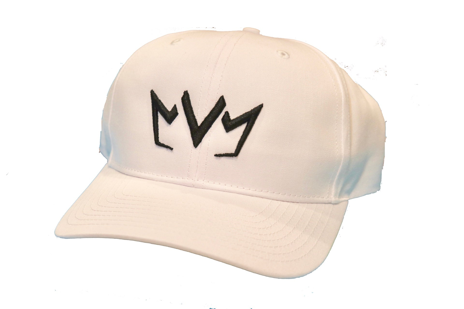 White MVM Crown Snapback with the MVM Crown embroidered in black on the front.