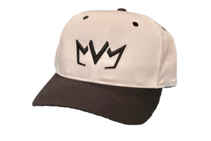 White and black MVM Crown Snapback with the MVM Crown embroidered in black on the front.