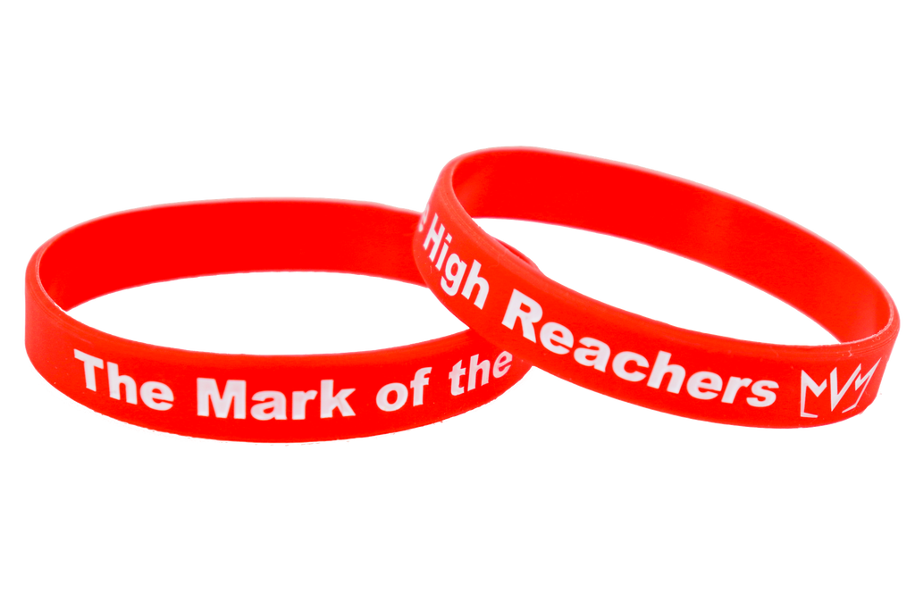 The Mark of the High Reachers Silicone Wristband in red.