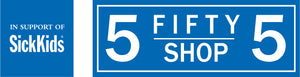 Blue and white rectangular logo for the 555 Shop in support of SickKids
