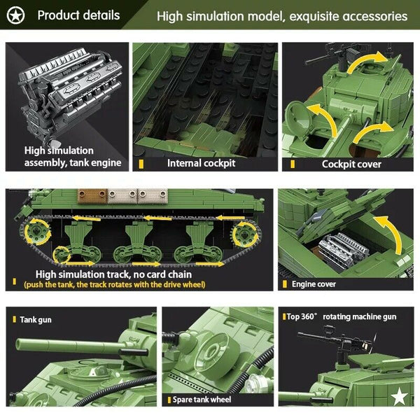 WW2 Tank (M4 Sherman Army Tank) - Building Blocks Set-General Jim's Toys & Bricks