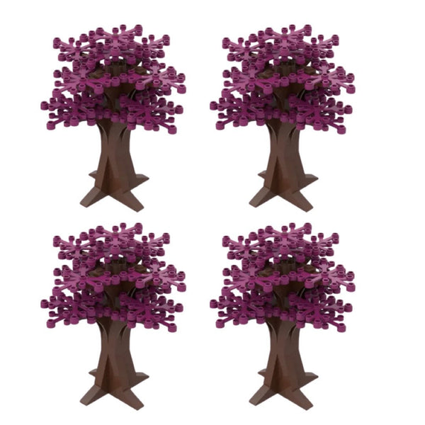 New PINK Tree Decorations - PINK Trees - PURPLE Building Bricks City Bush tree Decor X 4-General Jim's Toys & Bricks