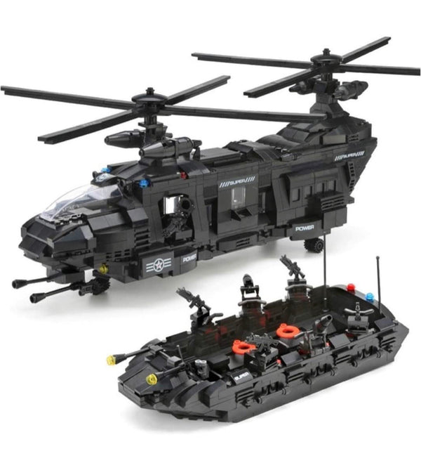 Police Swat Team Helicopter Building Blocks Set-General Jim's Toys & Bricks