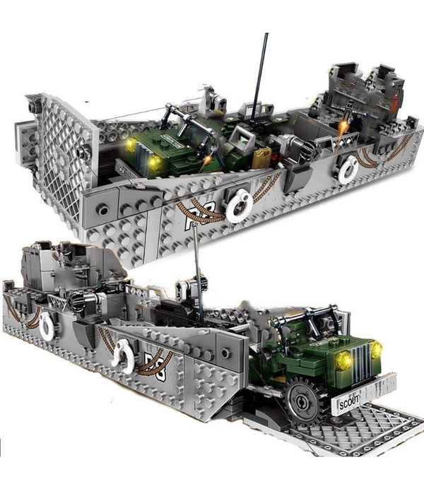 Army Landing Craft + Jeep Vehicle Building Blocks Set-General Jim's Toys & Bricks
