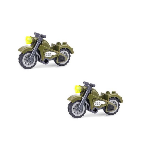 Set 2 Army Camo Green Motorcycle Building Blocks Set-General Jim's Toys & Bricks