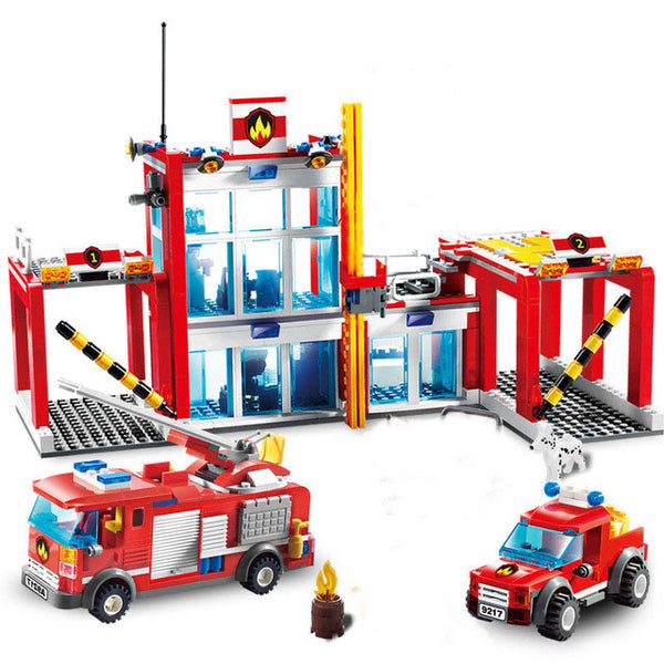 874 Piece Fire Station Department Building Blocks Toys Helicopter, Fire Engine +