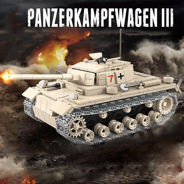 WW2 Tank (German Panzer III) Military Tank Building Blocks Set-General Jim's Toys & Bricks