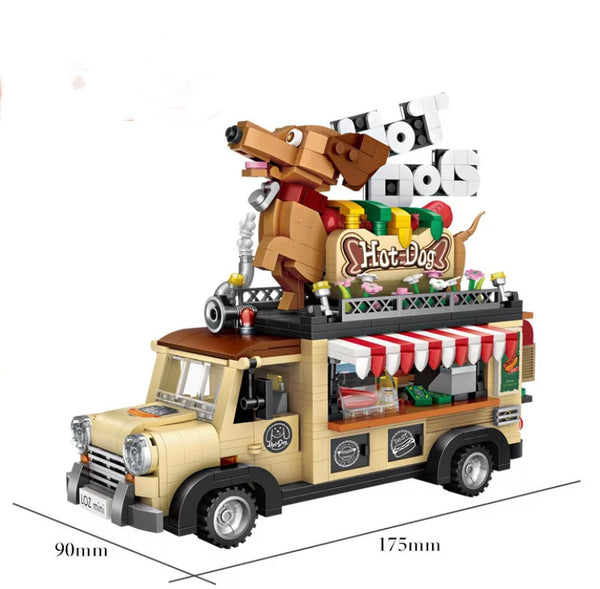 Hot Dog Fast Food Truck Mini Brick Set