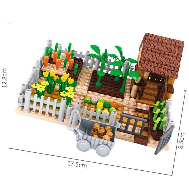 Country Garden Farm House Fields Building Blocks Set