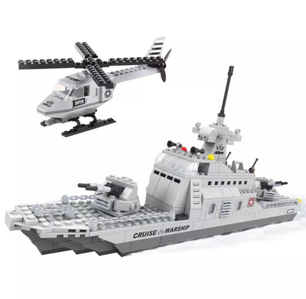 Military Armored Cruise Warship & Helicopter Set