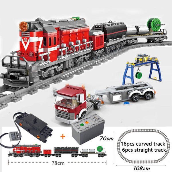 City Series Power Red Diesel Cargo Train Building Blocks Set