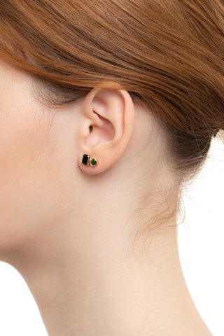 Bird of Paradise Stud Earring , Onyx & Chrome Diopside