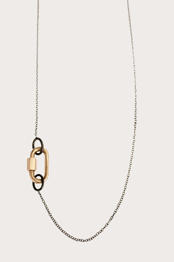 14K Rose Gold Baby Chain Necklace, Blackened Silver Chain