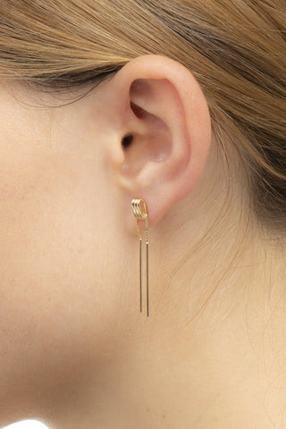 chain earring, yellow gold